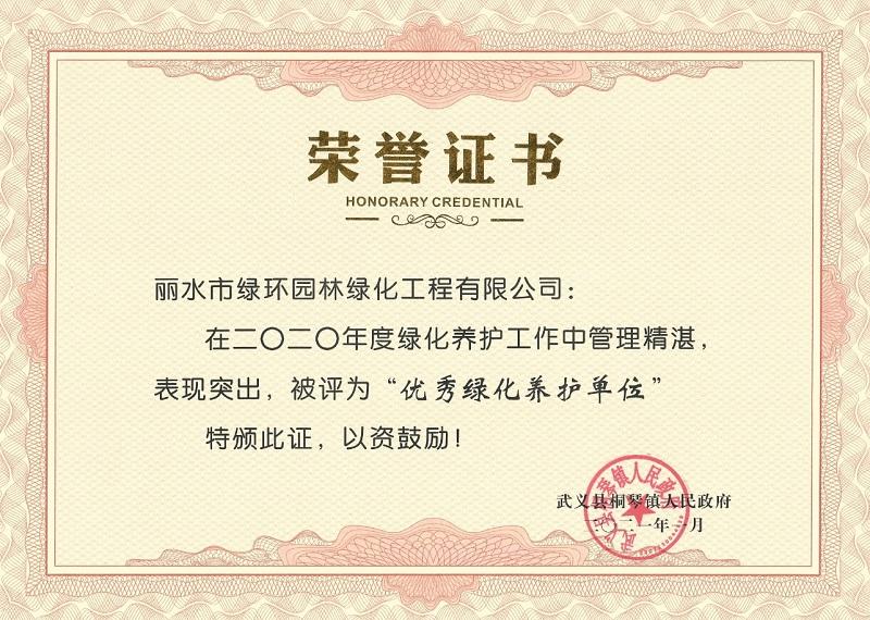 武义县桐琴镇人民政府 优秀绿化养护单位 绿环园林 2020年度